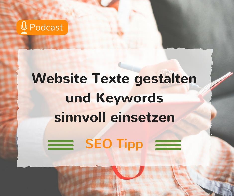 Webtexte gestalten und Keywords einsetzen