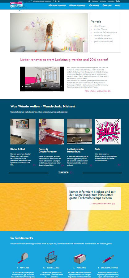 Ausschnitt aus Website Body von Wandschutz Nielsen
