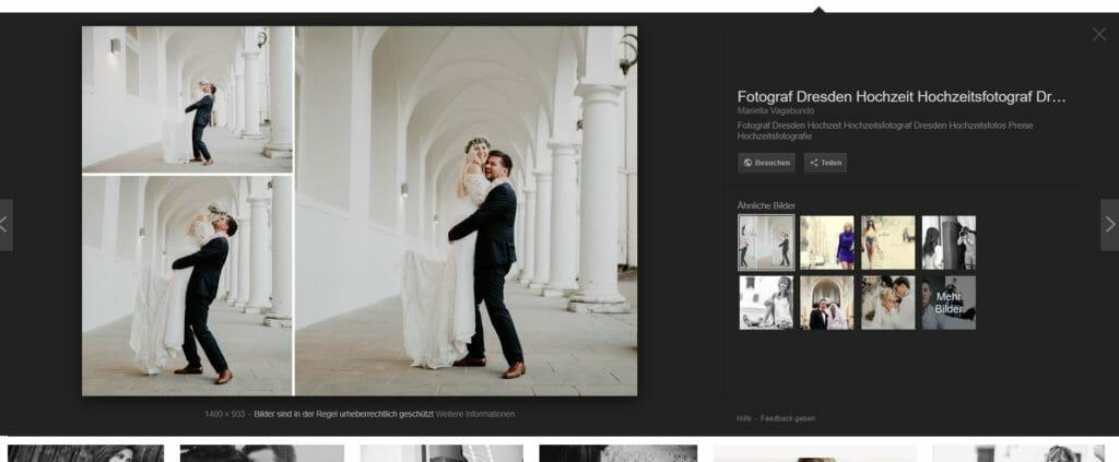 Anzeige in der Bildersuche nach dem ersten Klick.